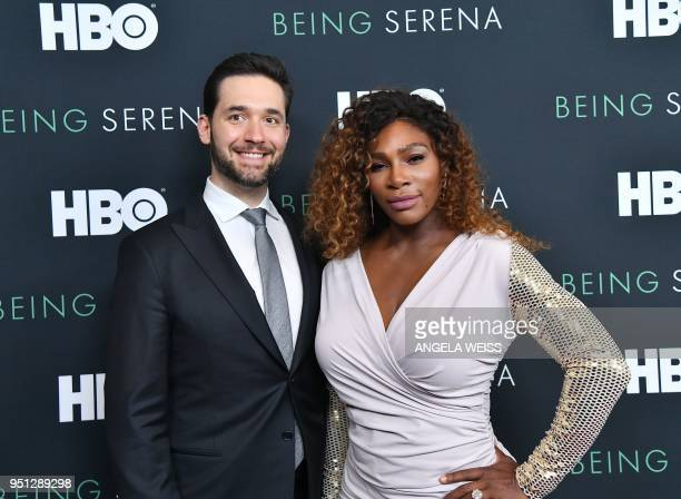 Co-Founder of Reddit Alexis Ohanian and Serena Williams attend the HBO New York Premiere of 'Being Serena' at Time Warner Center on April 25, 2018 in...