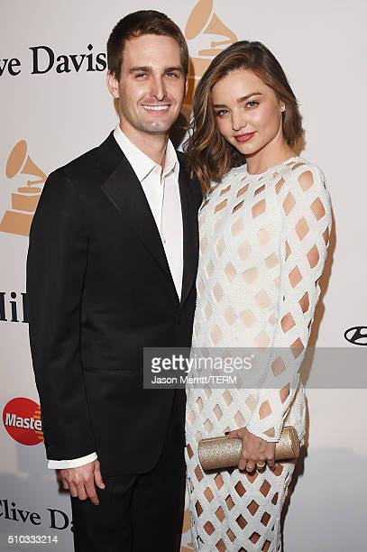 Co-founder of Snapchat Evan Spiegel and model Miranda Kerr attend the 2016 Pre-GRAMMY Gala and Salute to Industry Icons honoring Irving Azoff at The...