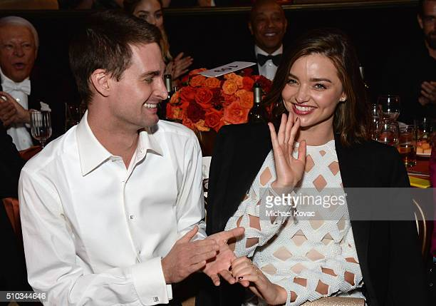 Cofounder of Snapchat Evan Spiegel and model Miranda Kerr attend the 2016 PreGRAMMY Gala and Salute to Industry Icons honoring Irving Azoff at The...