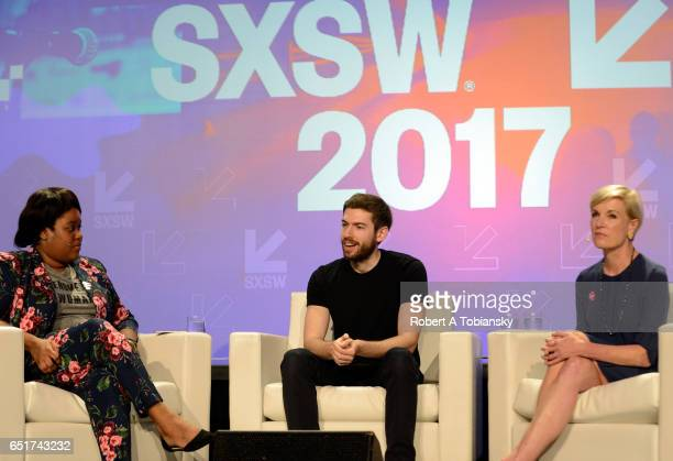 Cofounder of Tech LadyMafia Aminatou Sow web developer David Karp and President of Planned Parenthood Cecile Richards speak onstage at 'Activism...