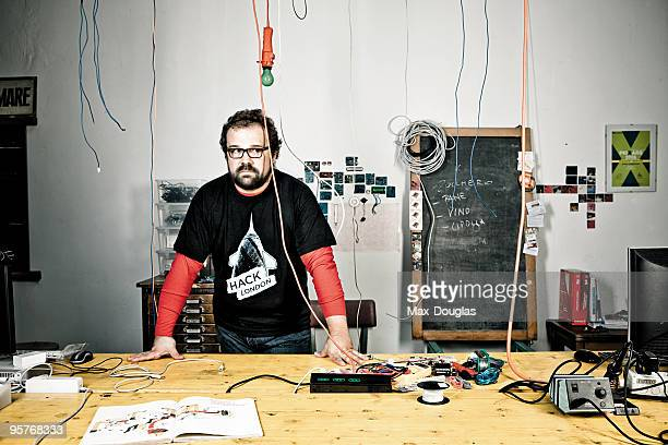 Cofounder of the Arduino project Massimo Banzi poses for a portrait in shoot in Milan on July 08 2008