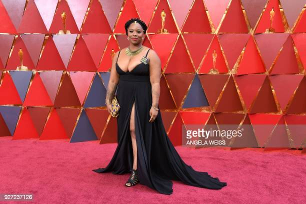 Cofounder of the Black Lives Matter movement Patrisse Cullors arrives for the 90th Annual Academy Awards on March 4 in Hollywood California / AFP...