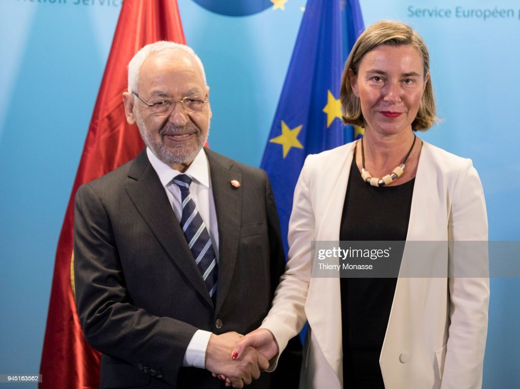 co-founder of the Ennahdha Party Rachid al-Ghannouchi visits Brussels : News Photo