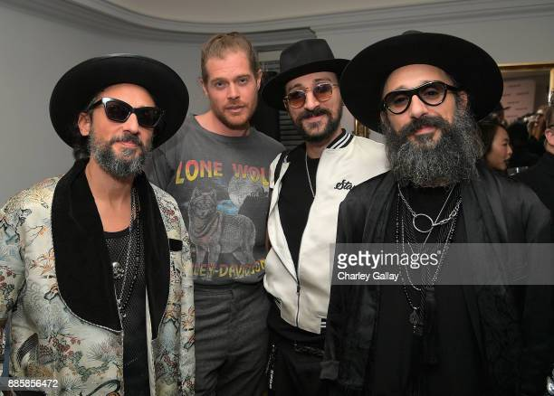 Cofounder of The Kooples Alexandre Elicha Nick Fouquet and cofounders of The Kooples Raphael Elicha and Laurent Elicha at The Kooples and Emily...