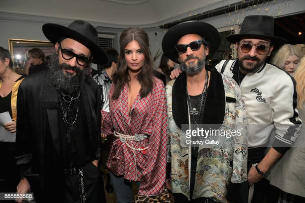 Cofounder of The Kooples Laurent Elicha Emily Ratajkowski and cofounders of The Kooples Raphael Elicha and Alexandre Elicha at The Kooples and Emily...