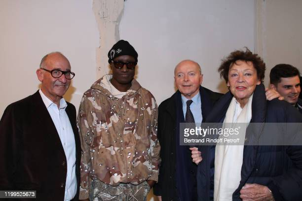 CoFounder of the Kreo Gallery Didier Krzentowski Stylist Virgil Abloh Jacques Toubon and his wife Lise Toubon attend the Virgil Abloh Efflorescence...