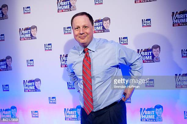 Cofounder of the Politico newspaper John Harris poses on the red carpet upon arrival at a salute to FOX News Channel's Brit Hume on January 8 2009 in...