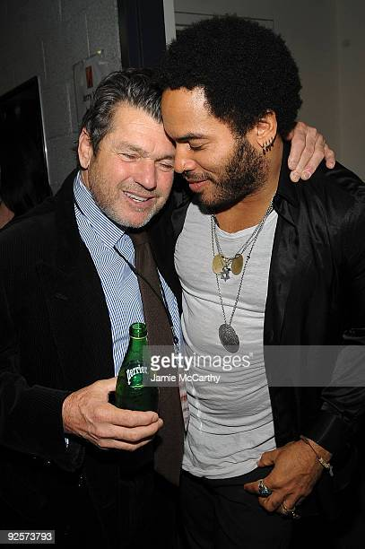 Co-founder of the Rock Hall and publisher of Rolling Stone magazine Jann Wenner and Lenny Kravitz attend the 25th Anniversary Rock & Roll Hall of...
