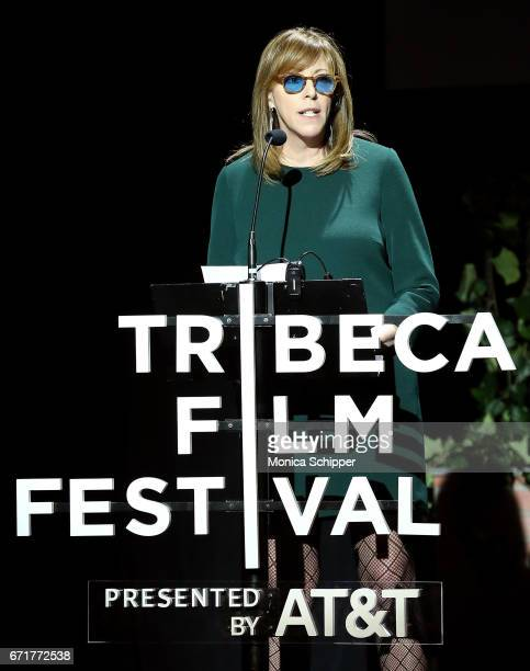 Cofounder of the Tribeca Film Festival Jane Rosenthal speaks on stage at Tribeca Talks Kathryn Bigelow Imraan Ismail during the 2017 Tribeca Film...