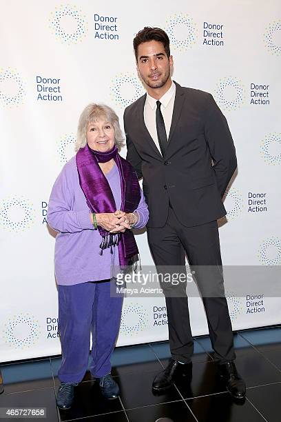 Cofounder of the Women's Media Center Robin Morgan and photographer Javier Gomez attend the Donor Direct Action launch party at Ford Foundation on...