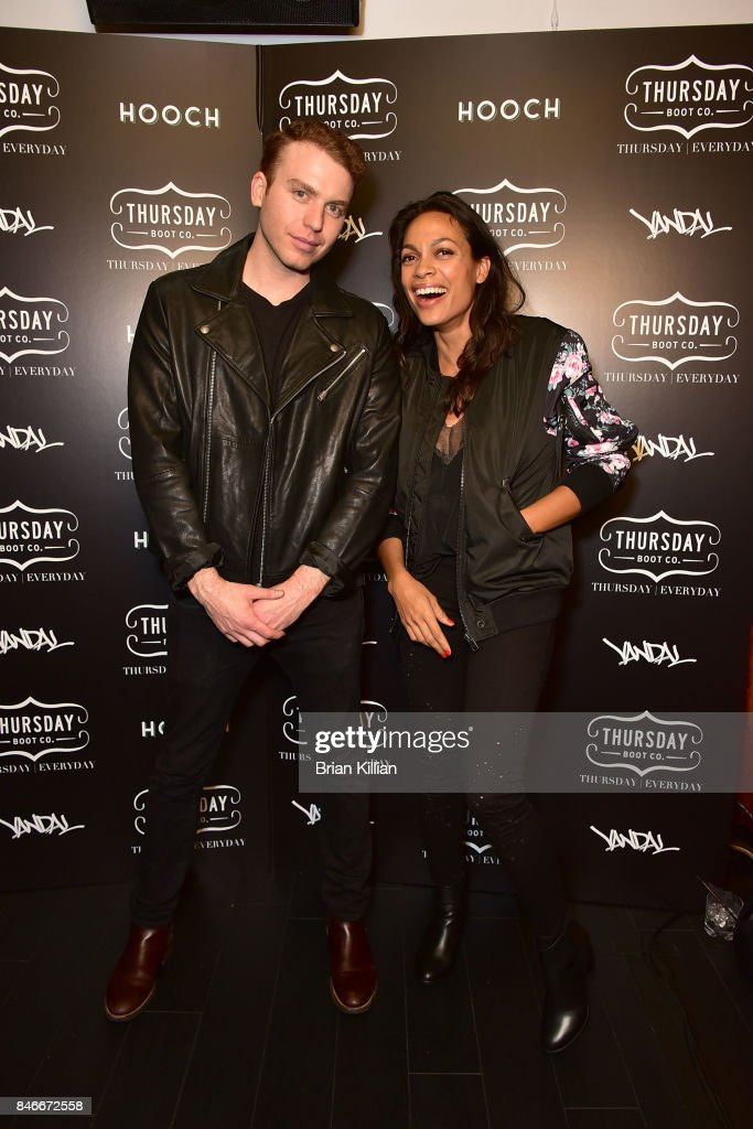 Co-founder of Thursday Boot Company Nolan Walsh and actress Rosario Dawson attend the Thursday Boot Company Presentation at Vandal on September 13, 2017 in New York City.