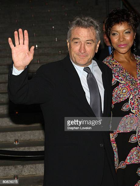 Cofounder of Tribeca Film Festival Robert De Niro and wife Grace Hightower arrive at the Vanity Fair party for the 2008 Tribeca Film Festival held at...