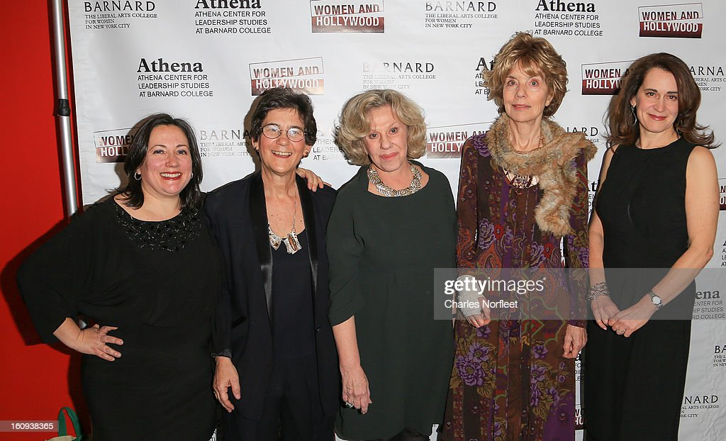Co-Founder of Women & Hollywood Melissa Silverstein, Director of Barnard College's Athena Center for Leadership Studies Kathryn Kolbert, autho Erica Jong, film critic/author Molly Haskell and Barnard College President Debora Spar attend The 2013 Athena Film Festival Opening Night Reception at The Diana Center At Barnard College on February 7, 2013 in New York City.