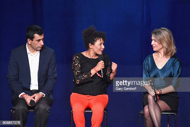 Co-founder of Yazda Murad Ismail, journalist Mariane Pearl, and filmmaker Michele Mitchell speak on stage during 2016 Global Citizen: The World on...