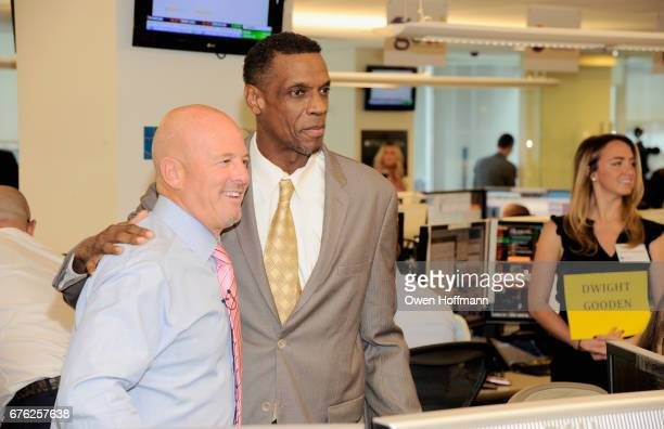 BTIG cofounder Steven Starker and former MBL player Dwight Gooden attend BTIG's 15th Commissions for Charity Day at BTIG on May 2 2017 in New York...