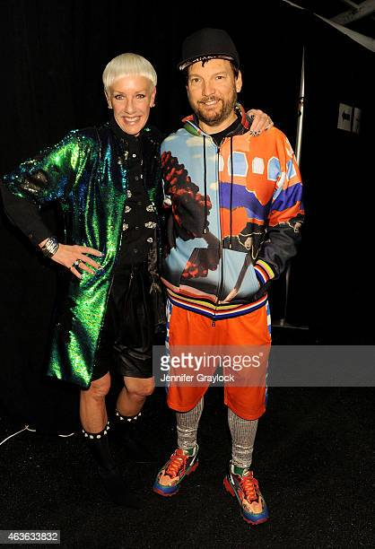 Cofounder Style Director Jan Arnold and Libertine designer Johnson Hartig pose backstage at CND for Libertine Fall/Winter 2015 at Lincoln Center on...