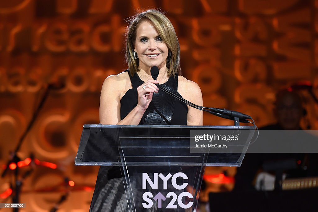 Co-Founder & SU2C Council of Founders and Advisors, Katie Couric speaks onstage during Stand Up To Cancer's New York Standing Room Only, presented by Entertainment Industry Foundation, with donors American Airlines and Merck, chaired by Jim Toth, Reese Witherspoon & MasterCard President/CEO Ajay Banga and his wife Ritu, honoring Katie Couric at Cipriani Wall Street on April 9, 2016 in New York City.