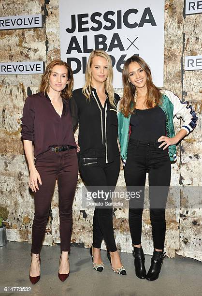 Cofounder Who What Wear Katherine Power Founder Baby2Baby Kelly Sawyer and actress Jessica Alba attend the DL1961 x Jessica Alba Collection Event at...