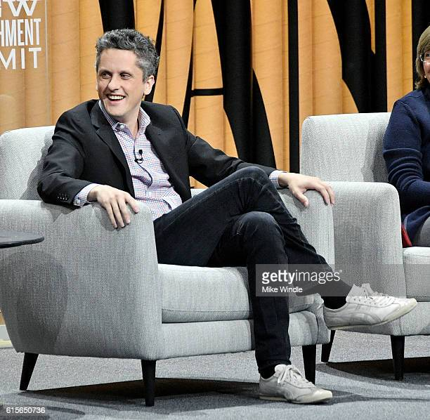 """Co-founder/CEO of Box, Aaron Levie, speaks onstage during """"The State of the Valley: Where's the Juice?"""" at the Vanity Fair New Establishment Summit..."""