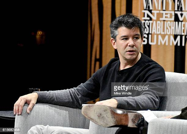 Cofounder/CEO of Uber Travis Kalanick speaks onstage during The Übermensch at the Vanity Fair New Establishment Summit at Yerba Buena Center for the...