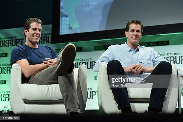 Co-Founders at Winklevoss Capital, Tyler Winklevoss and Cameron Winklevoss speak onstage during TechCrunch Disrupt NY 2015 - Day 3 at The Manhattan...
