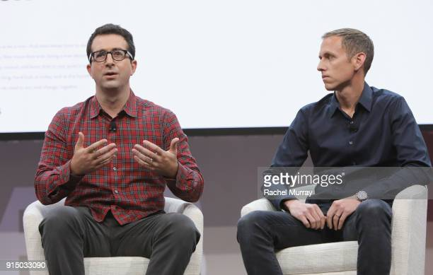 CoFounders CoCEOs of Harry's Inc Jeff Raider and Andy KatzMayfield speak onstage during The 2018 MAKERS Conference at NeueHouse Hollywood on February...
