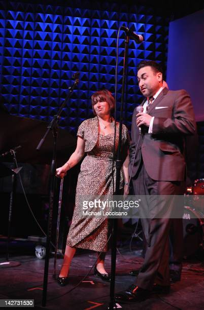 CoFounders Janis Winehouse and Alex Winehouse address the audience during the US Launch of the The Amy Winehouse Foundation at Joe's Pub on April 11...
