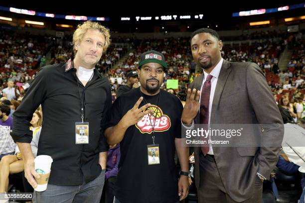 BIG3 cofounders Jeff Kwatinetz and Ice Cube and Commissioner Roger Mason Jr pose for a photo while attending week nine of the BIG3 threeonthree...