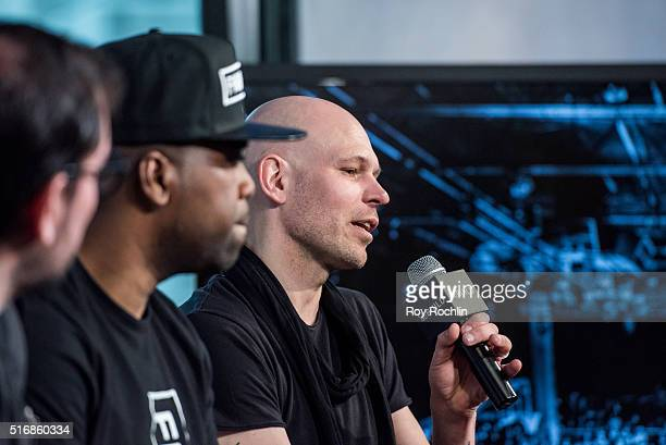 Cofounders Liron Reznik Jonas Hallberg and Head of Player Personnel Bernard Bowen speak about Fightball during AOL Build at AOL Studios on March 21...