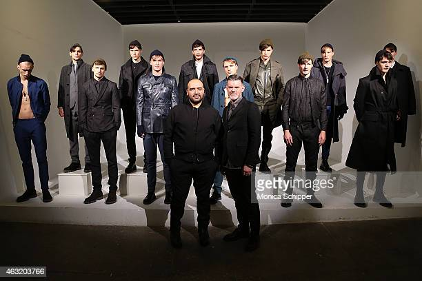 Cofounders of Cadet Raul Arevalo and Brad Schmidt pose for a photo at the Cadet presentation during MercedesBenz Fashion Week Fall 2015 at Industria...