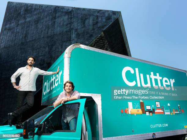 Cofounders of Clutter Inc Ari Mir and Brian Thomas are photographed for Forbes Magazine on July 19 2017 outside their headquarters in Culver City...