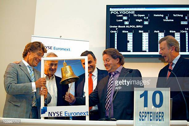 Cofounders of communication agency Polygone Thierry Goor and Pascal Lambert attend the opening bell ceremony to mark it's initial public offering on...