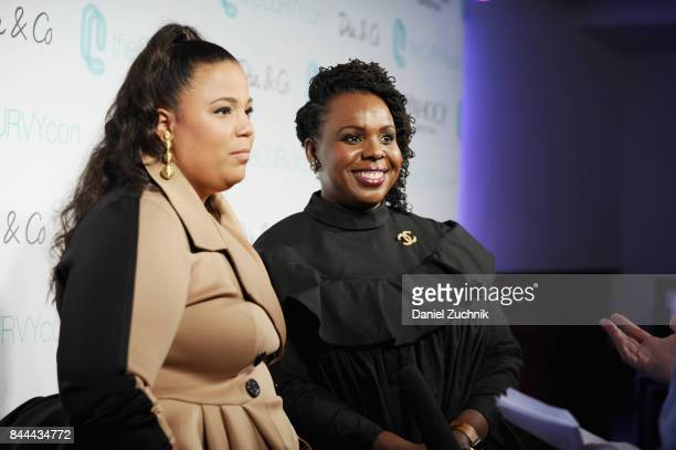 Cofounders of CURVYcon Chastity Garner Valentine and CeCe Olisa speak during the DiaCo fashion show and industry panel at the CURVYcon at...