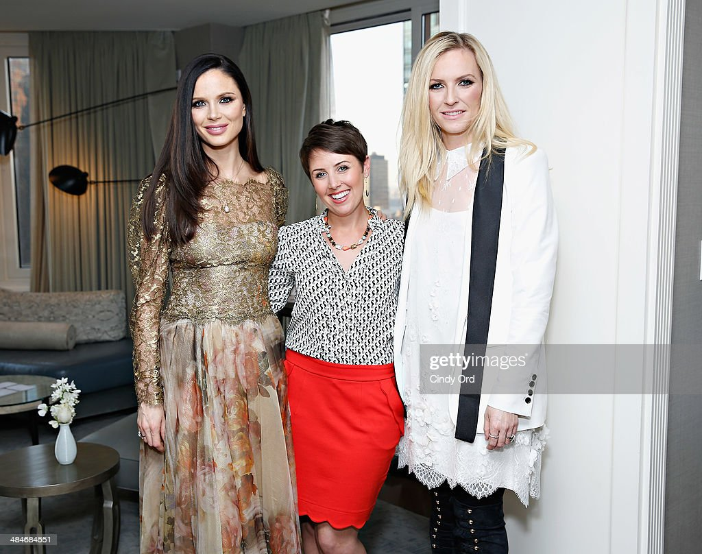 Co Founders Of Fashion Label Marchesa Georgina Chapman And Keren Craig Pose With Wedding