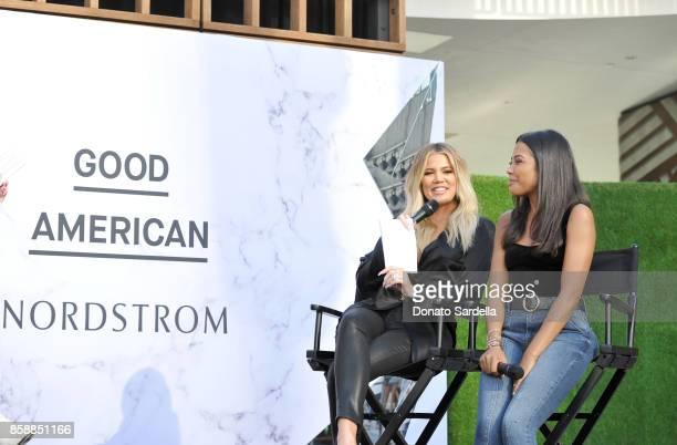 Cofounders of Good American Khloe Kardashian and Emma Grede speak onstage during Good American Anniversary Celebration With Khloe Kardashian Emma...