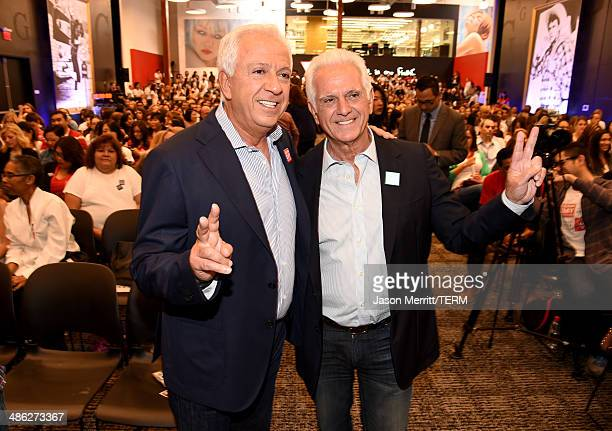 Cofounders of Guess Inc Paul Marciano and Maurice Marciano attend the GUESS and Peace Over Violence celebration of the 15th anniversary of Denim Day...