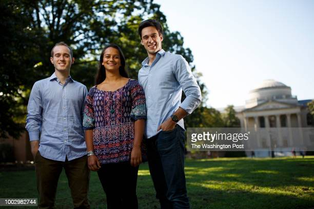 Cofounders of Lead For America from right Joe Nail Kinsey Morrison and Reed ShaferRay pose for a photograph on campus at the University of North...