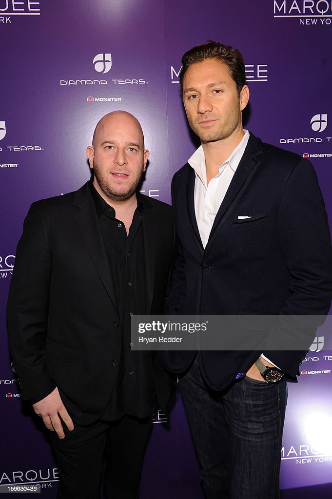 Co-founders of Marquee Noah Tepperberg (L) and Jason Strauss attend the grand opening of Marquee New York on January 16, 2013 in New York City.