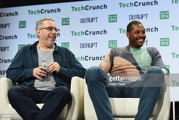 Cofounders of Melo7 Tech Partners Stuart Goldfarb and Carmelo Anthony speak onstage during TechCrunch Disrupt NY 2016 at Brooklyn Cruise Terminal on...