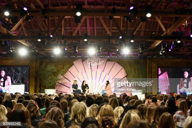 CoFounders of The Little Market Lauren Conrad Hannah Skvarla and CoFounder of HelloGiggles Sophia Rossi speak onstage at the Create Cultivate Los...