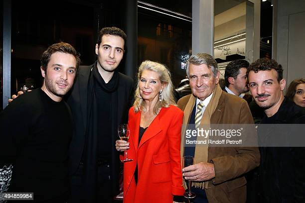 CoFounders of the Store Louis Leboiteux and JeanVictor Meyers Baron and Baroness Gilles Ameil and Calligrapher Nicolas Ouchenir attend the Opening of...