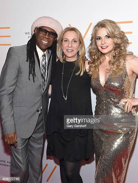 Cofounders of the We Are Family Foundation Nile Rodgers and Nancy Hunt with Susan Rockefeller attend the We Are Family 2016 Celebration Gala at...