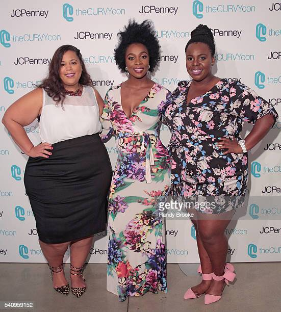 CoFounders of TheCurvyCon Chastity Garner and CeCe Olisa pose with fitness guru Anowa Adjah during TheCurvyCon 2016 at Metropolitan Pavilion West on...