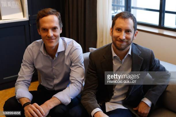 Cofounders of US startup company Juul Adam Bowen and James Monsees pose in Paris on december 5 2018 The electronic cigarette Juul arrives in France...