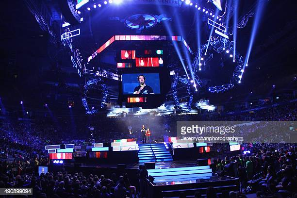 Cofounders of WE Day Craig and Marc Kielburger speak during WE Day Toronto at the Air Canada Centre on October 1 2015 in Toronto Canada