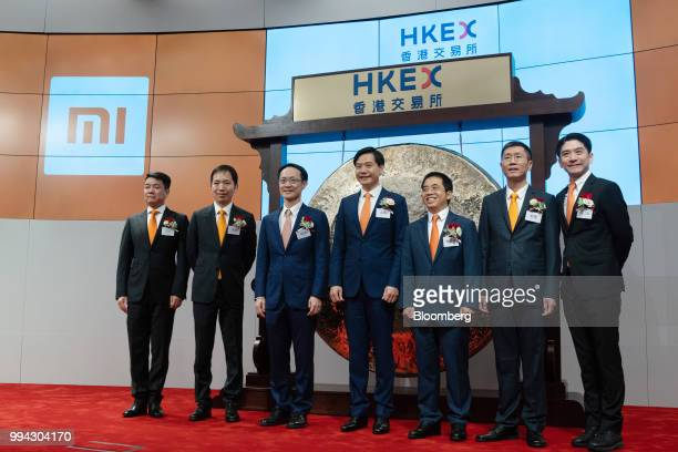 Co-founders of Xiaomi Corp., Wang Chuan, senior vice president of the television business, from left, Hong Feng, senior vice president, Lin Bin,...