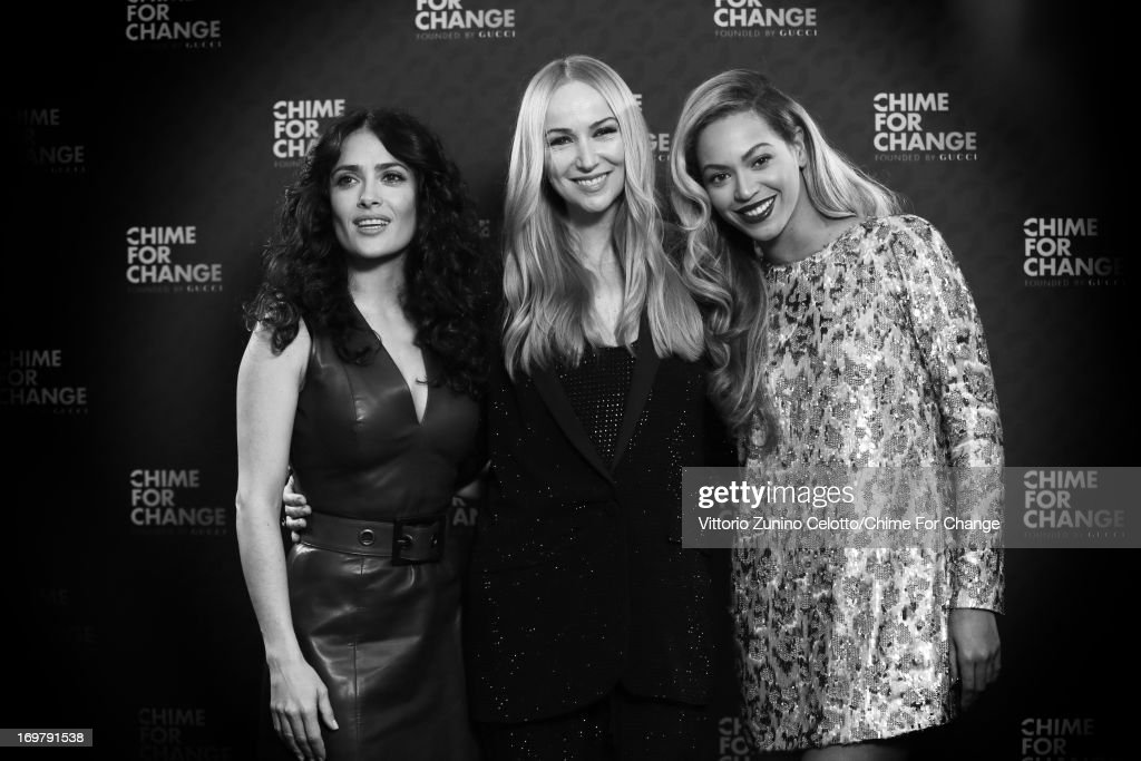Co-founders Salma Hayek Pinault, Creative Director of Gucci Frida Giannini and singer Beyonce pose backstage in the media room at the 'Chime For Change: The Sound Of Change Live' Concert at Twickenham Stadium on June 1, 2013 in London, England. Chime For Change is a global campaign for girls' and women's empowerment founded by Gucci with a founding committee comprised of Gucci Creative Director Frida Giannini, Salma Hayek Pinault and Beyonce Knowles-Carter.