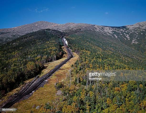 A cog railway on New Hampshire Mount Washington in the White Mountains