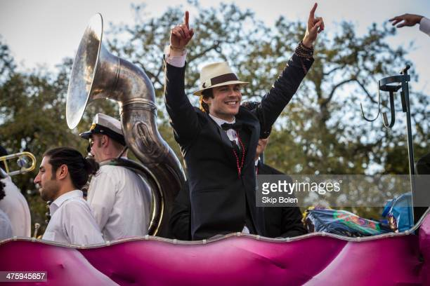 CoGrand Marshal Ian Somerhalder of The Vampire Diaries rides a float in the 2014 Krewe Of Endymion Parade on March 1 2014 in New Orleans Louisiana
