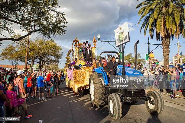 CoGrand Marshal Norman Reedus of The Walking Dead rides a float in the 2014 Krewe Of Endymion Parade on March 1 2014 in New Orleans Louisiana